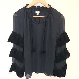 Style & Co Sheer ruffle sleeves velvet blouse